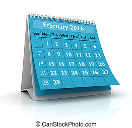 February 2016 Calendar in white background