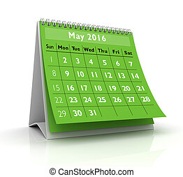 May 2016 Calendar in white background