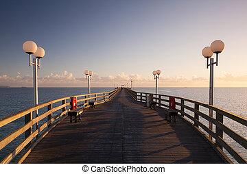 Sunrise on the Pier in Binz, Ruegen Island - Morning on the...