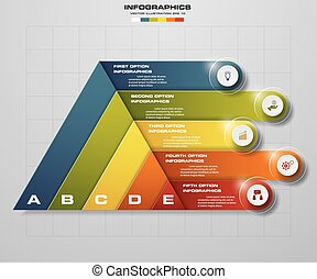 5 steps number banners template. - Abstract pyramid shape...