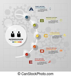 Simple&Editable 5 Steps chart diagrams template/graphic or...