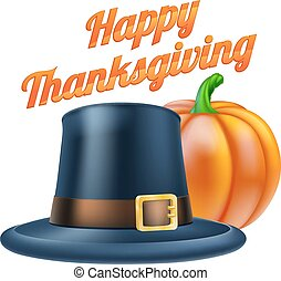 Happy Thanksgiving Illustration - Thanksgiving pumpkin and...