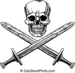 Skull and Swords Pirate Sign