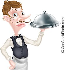 Cartoon Waiter - An illustration of a cartoon waiter holding...