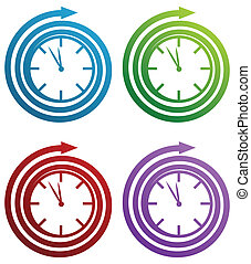 Spiral Clock - Spiral clock icon set isolated on a white...
