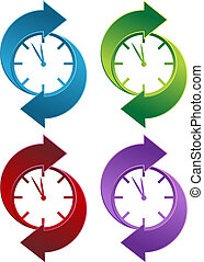 Spinning Clock icon set isolated on a white background.