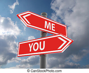 me and you road signs pointing in the different directions