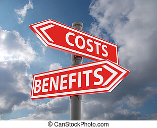 two road signs - costs vs. benefits