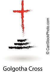 Golgotha cross vector sketch drawing, black and red cross...