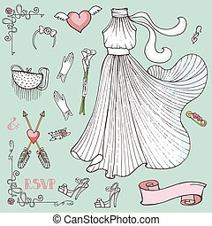 Bridal shower Dress,accessories,decor set.Vintage vector