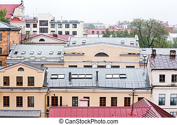 old classic architecture - rooftop view panorama with urban...