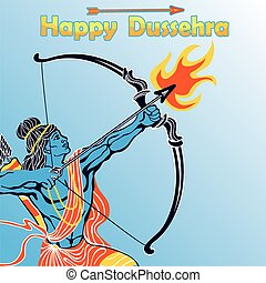 Lord Rama portrait with bow arrowHappy Dussehra - Happy...