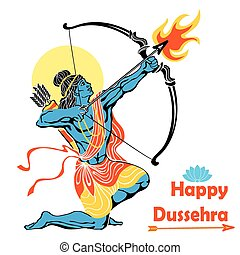 Lord Rama with bow arrowHappy Dussehra - Happy Dussehra...