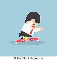 Businessman stumbling on deadline rope, VECTOR, EPS10