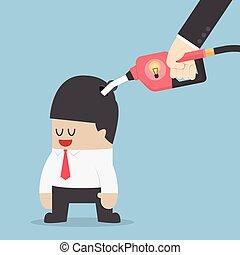 Businessman refuelling his idea by fuel nozzle, VECTOR,...