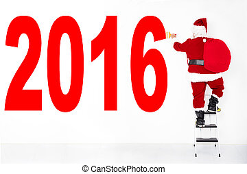 santa claus painting 2016 on the  white wall