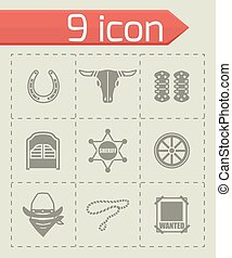 Vector Wild West icon set on grey background