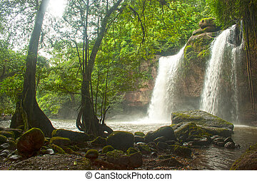 Heo Suwat waterfall in Khao Yai National park,Thailand -...