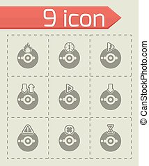 Vector CD icon set on grey background