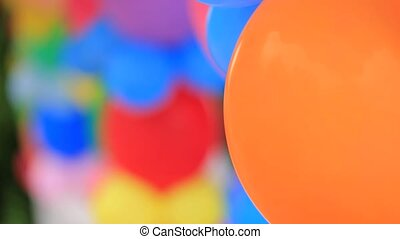 Bunches Of Colorful Balloons At Nature - CLOSE UP: Shot with...