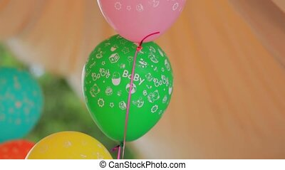 Bunch Of Colorful Balloons At Nature - CLOSE UP: This is a...