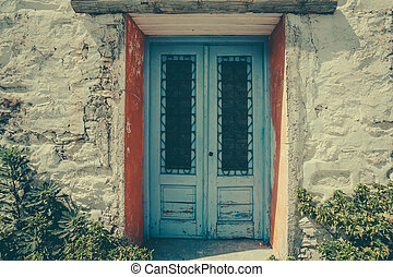 blue wooden front door - Closed blue wooden door. blue...