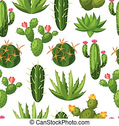 Cactuses and plants abstract natural seamless pattern.