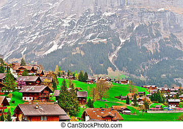 Small Town - The Small Town High Up in the Swiss Alps