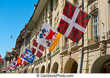 Flags in Berne - Street Decorated with Flags in Berne,...