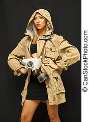 Beautiful Woman with gas mask - Portrait of Beautiful Young...