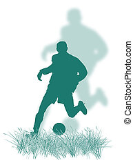 Soccer player on the grass