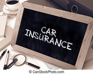 Car Insurance Handwritten by white Chalk on a Blackboard...
