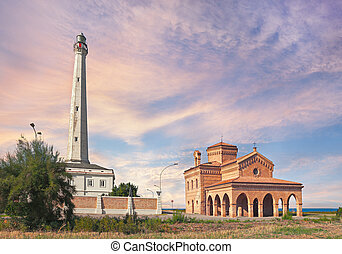 lighthouse and church in Punta Penna, Abruzzo, Italy - the...