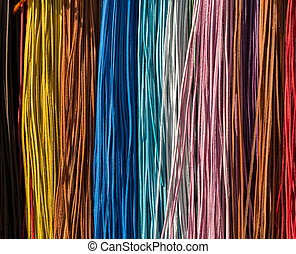 Colorful leather stripes - abstract background