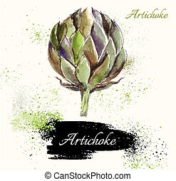 The artichoke - Illustration of artichoke in watercolor...