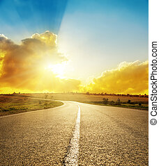 bright sunset over road