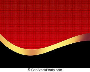 Luxury Background - Black and golden wave over red textured...