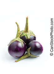 Purple Brinjal, eggplant isolated on white background