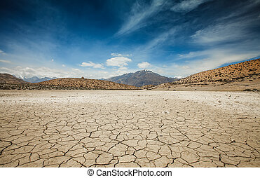 Dry Dhankar lake in Himalayas mountains Spiti valley,...