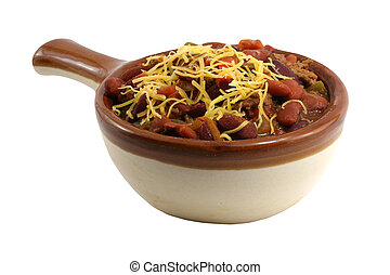 Crock of chili - A isolated crock of chili with cheese