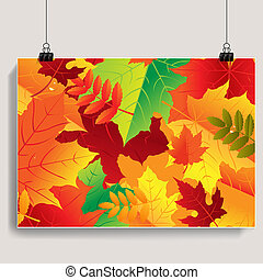 Autumn Banner With Gradient Mesh, Vector Illustration