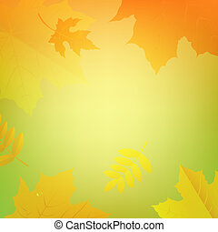 Autumn Banner With Color Leaves With Gradient Mesh, Vector...
