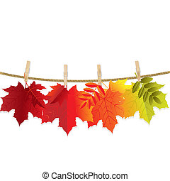 Autumn Leaf With Gradient Mesh, Vector Illustration
