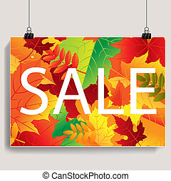 Autumn Sale Banner With Gradient Mesh,