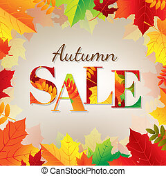Autumn Sale Banner With Color Leaves With Gradient Mesh,