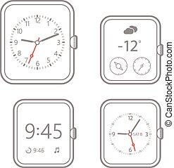 Modern digital watch dials template