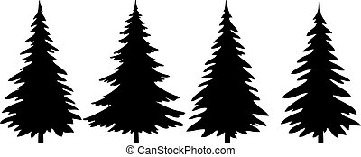 Christmas Trees Pictogram Set - Christmas Trees Set, Black...