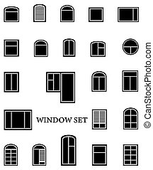 isolated window set - black isolated window set on white...