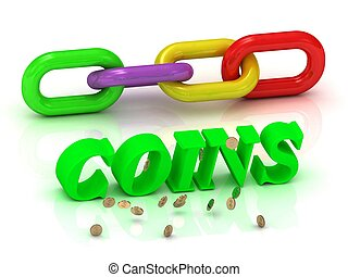 COINS inscription of bright letters and color chain - COINS-...