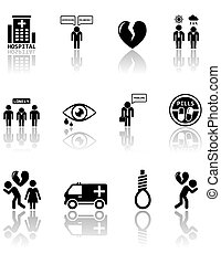 set of mental health icons - set of black mental health...